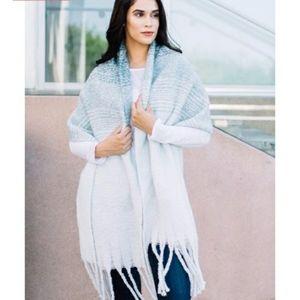 Anthropologie MerSea Blue Wrap Oversize Knit Scarf